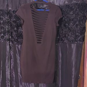 Brown body con dress with rips down back